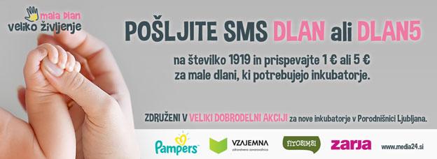 Pošljite SMS DLAN1 ali DLAN5 na številko 1919 in prispevajte 1€ ali 5€ za male dlani, ki potrebujejo inkubatorje!